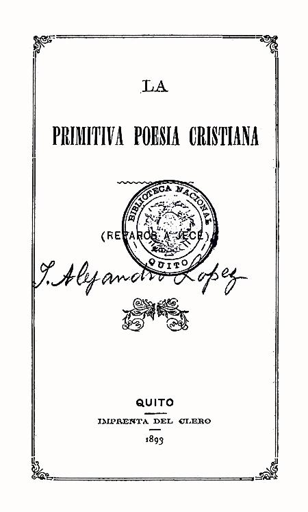La primitiva poesía cristiana (Folleto).
