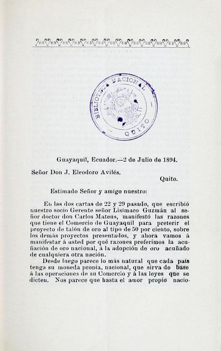 En las dos cartas de 22 y 29 pasado, que escribió nuestro socio señor Gerente Lisímaco Guzmán (Folleto).