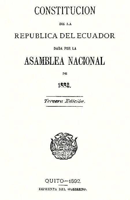 Constitución de la República del Ecuador, dada por la Asamblea Nacional de 1883 (Folleto).