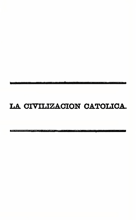 La Civilizacion Católica (Folleto).