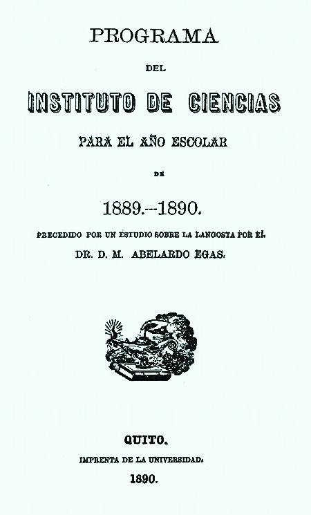 Programa del Instituto de Ciencias para el año escolar de 1889-1890.