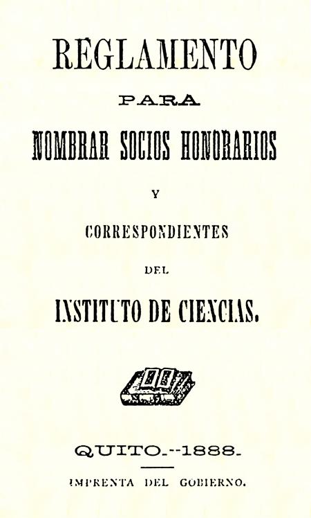 Reglamento para nombrar socios honorarios y correspondientes del Instituto de Ciencias (Folleto).