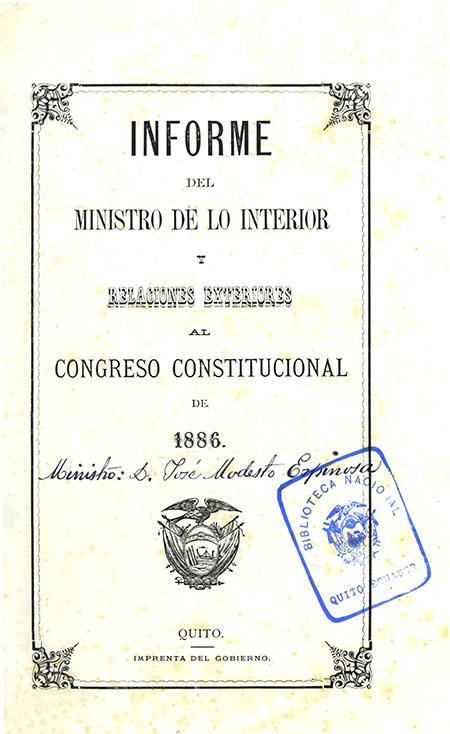 Informe del Ministro de lo Interior y Relaciones Exteriores al Congreso Constitucional de 1886.