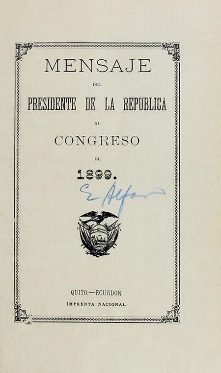 Mensaje del Presidente de la República al Congreso de 1899 (Folleto).