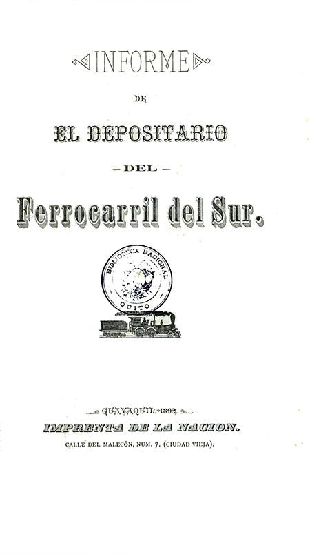 Informe de El Depositario del Ferrocarril del Sur (Folleto).