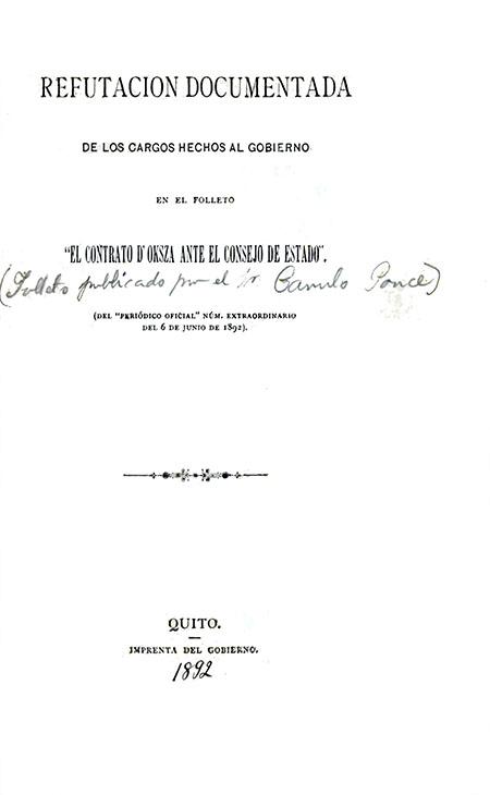 Refutación documentada de los cargos hechos al Gobierno en el folleto