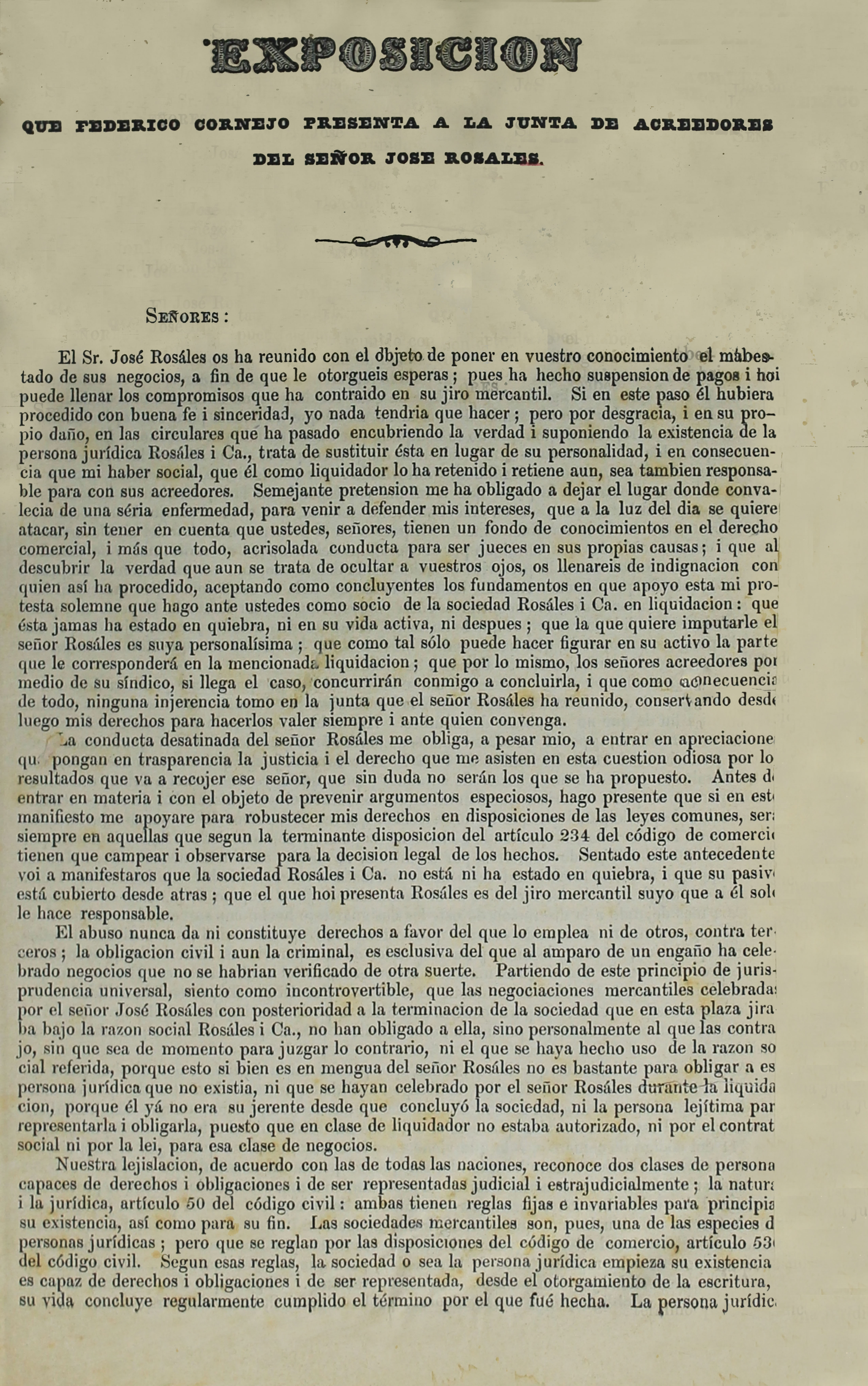 Exposición que Federico Cornejo presenta a la Junta de acreedores del señor José Rosales (Folleto).