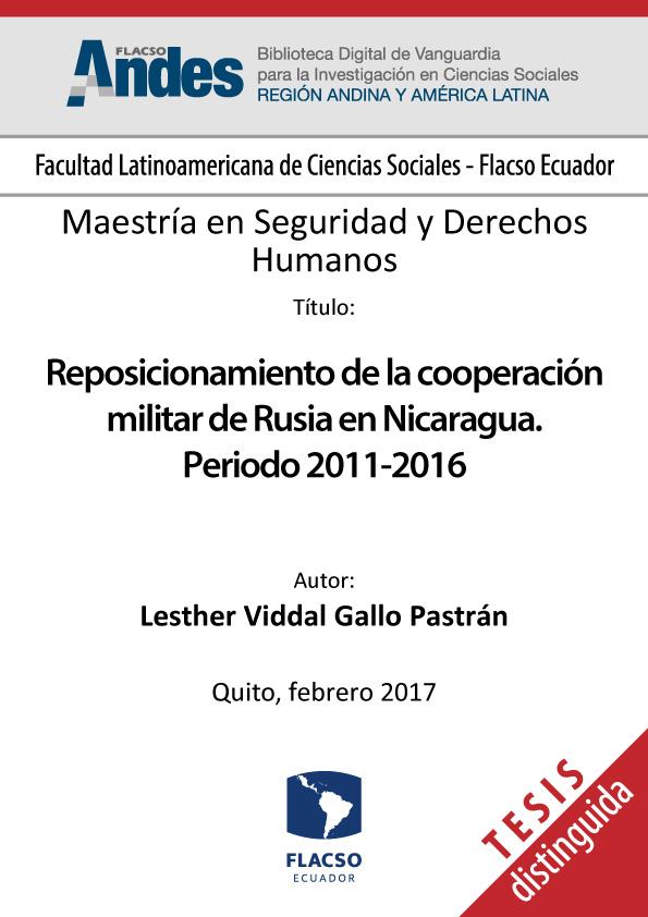 Reposicionamiento de la cooperación militar de Rusia en Nicaragua. Periodo 2011-2016