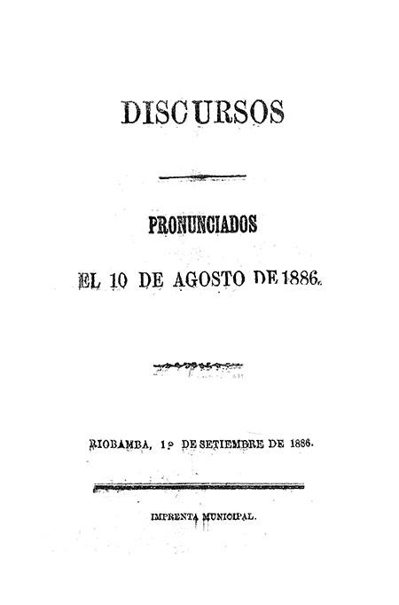 Discursos pronunciados el 10 de agosto de 1886