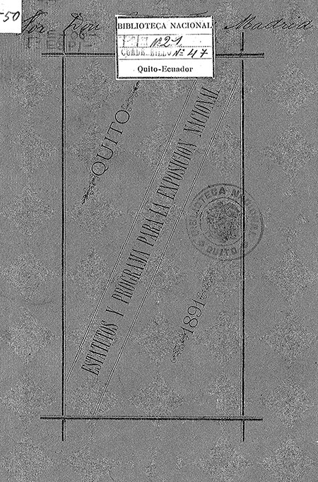 Estatutos y Programa para la Exposición Nacional que tendrá lugar el 9 de diciembre de 1891 protegida por el S. E. el Presidente de la República y Patrocinada por la Municipalidad