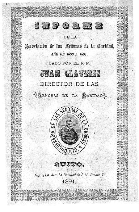Informe de la Asociación de las Señoras de la Caridad, año de 1890 a 1891. Dado por el R. P. Juan Glaverie Director de las Señoras de la Caridad
