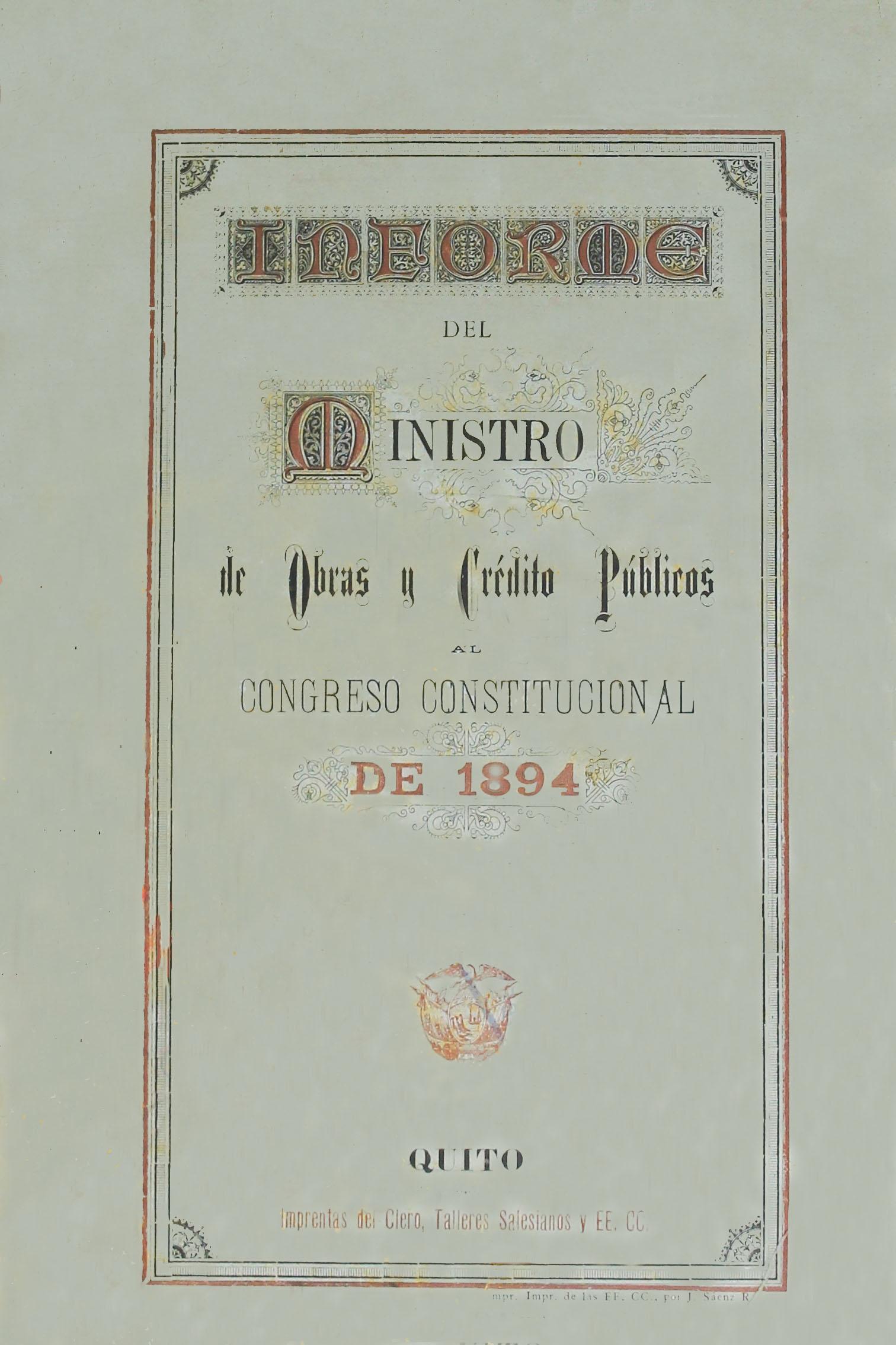 Informe del Ministro de Obras y Crédito Públicos al Congreso Constitucional de 1894