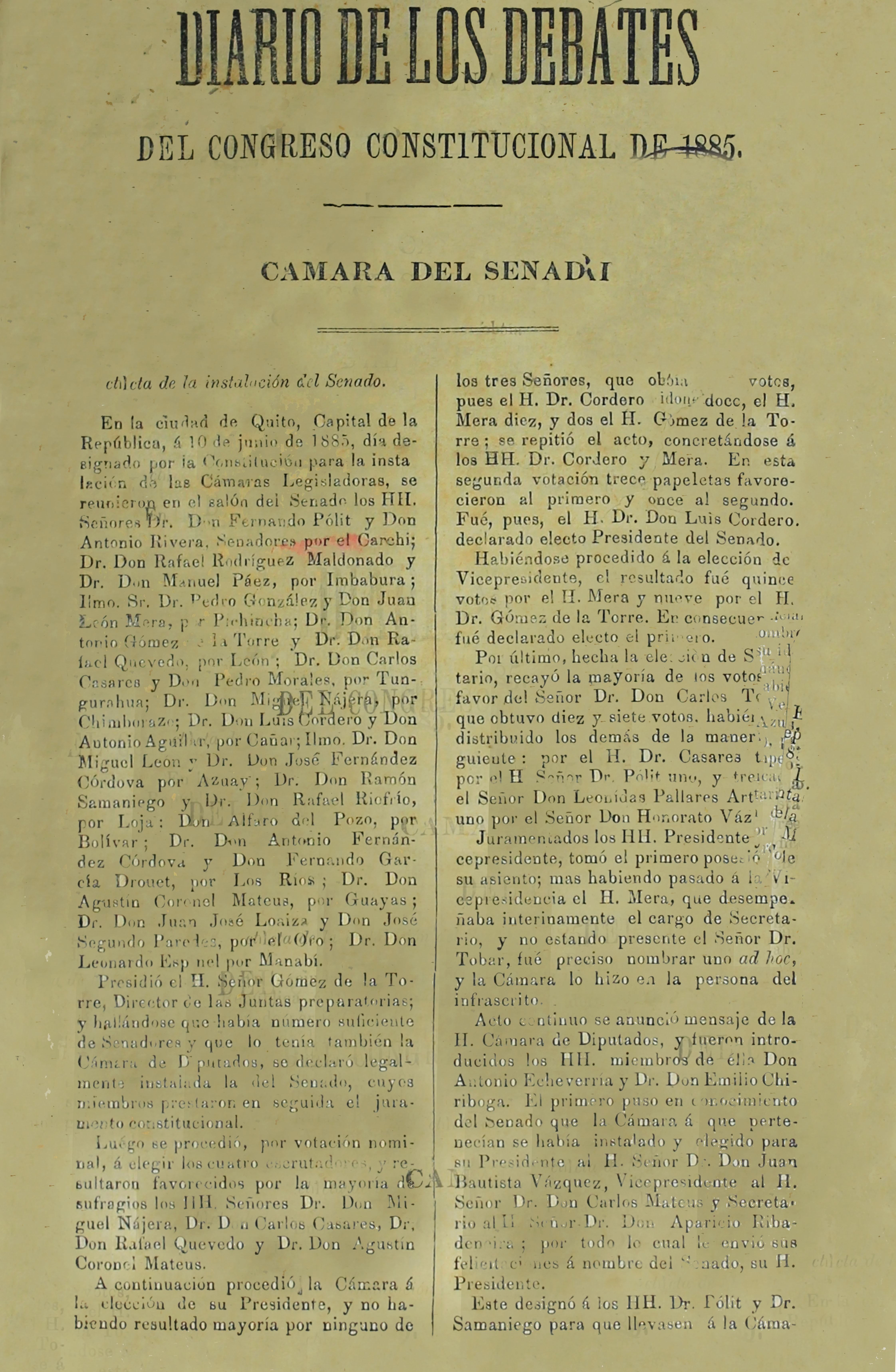 Diario de los Debates del Congreso Constitucional de 1885. Cámara del Senado