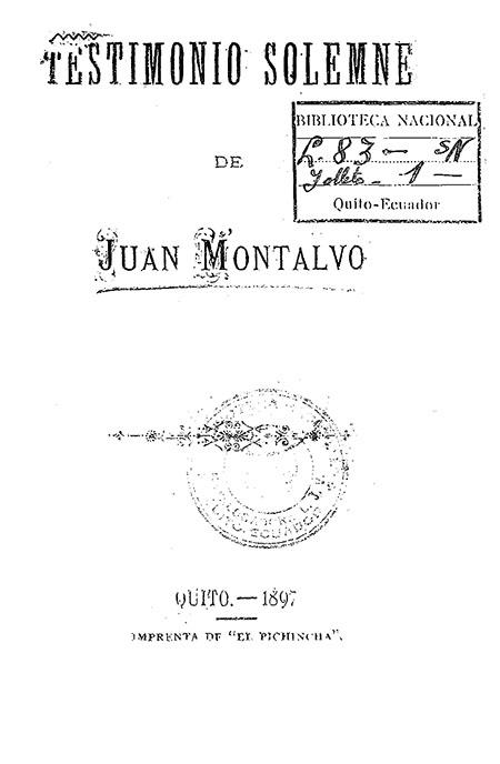 Testimonio Solemne de Juan Montalvo
