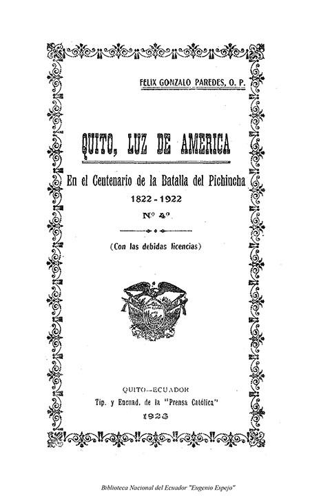 Quito, luz de América, en el centenario de la Batalla de Pichincha, 1822-1922, N° 4