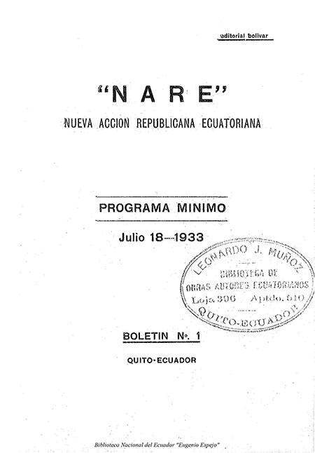 """""""N.A.R.E."""": Nueva Acción Republicana Ecuatoriana"""