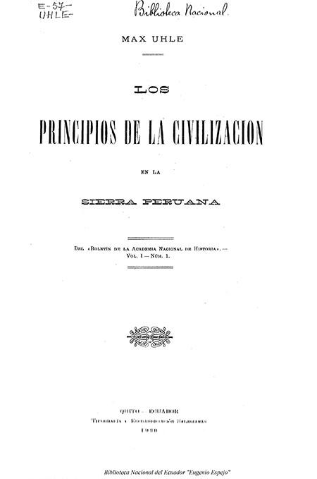 Principios de la civilización en la Sierra Peruana