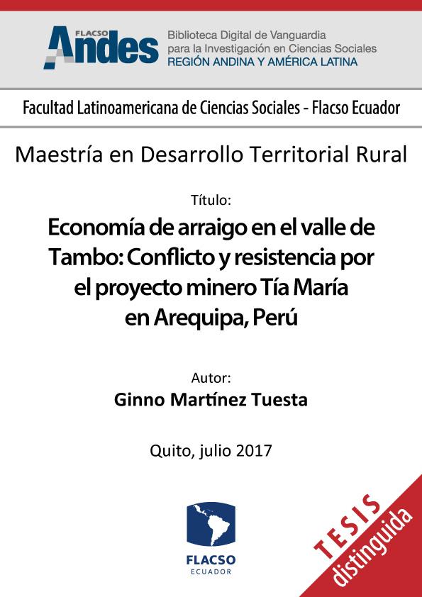 Economía de arraigo en el valle de Tambo: conflicto y resistencia por el proyecto minero Tía María en Arequipa, Perú