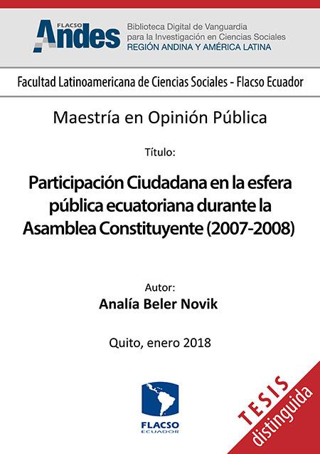 Participación Ciudadana en la esfera pública ecuatoriana durante la Asamblea Constituyente (2007-2008)