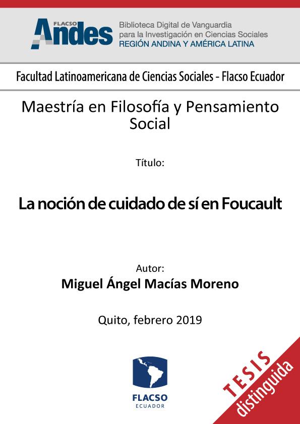 La noción de cuidado de sí en Foucault
