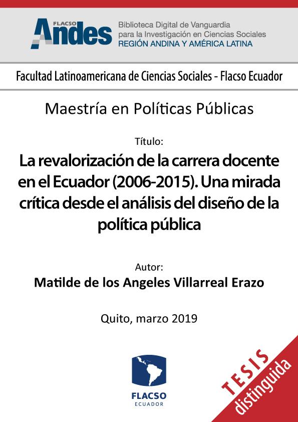 La revalorización de la carrera docente en el Ecuador (2006-2015). Una mirada crítica desde el análisis del diseño de la política pública