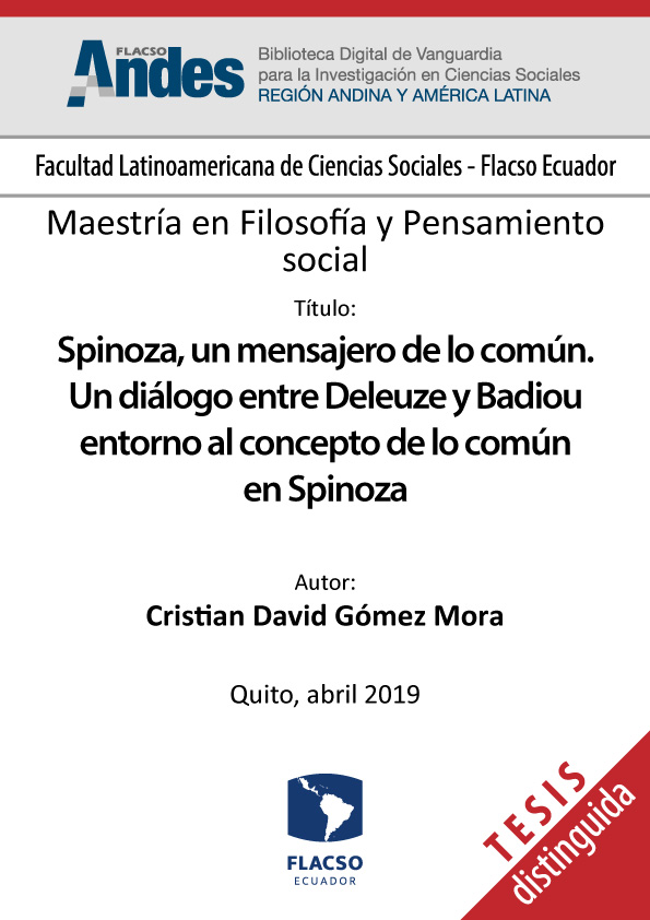 Spinoza, un mensajero de lo común. Un diálogo entre Deleuze y Badiou entorno al concepto de lo común en Spinoza