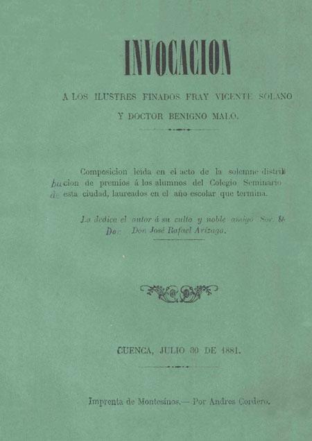 Invocación a los ilustres finados Fray Vicente Solano y Doctor Benigno Malo [Folleto].