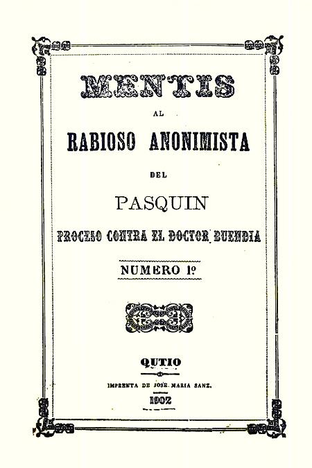 Mentis al rabioso anonimista del pasquin proceso contra el Doctor Buendía [Folleto].