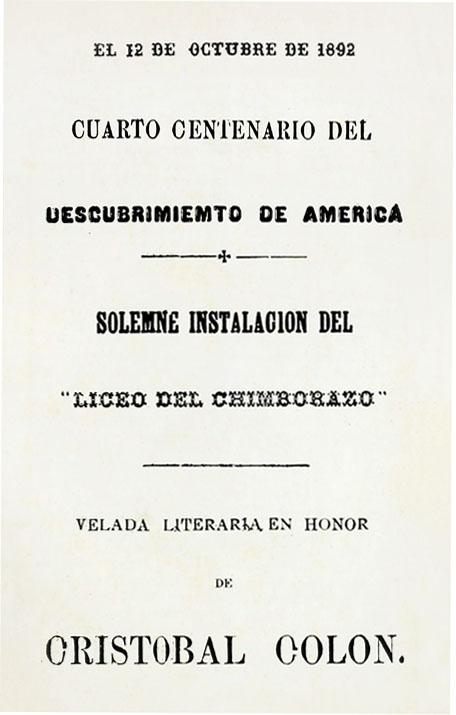 El 12 de octubre de 1892 cuarto centenario del descubrimiento de América (Folleto).