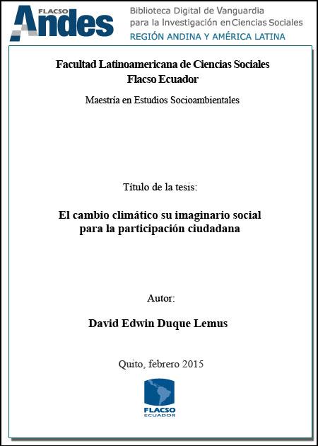 El cambio climático su imaginario social para la participación ciudadana.