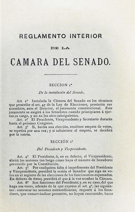 Reglamento interior de la Cámara del Senado (Folleto).