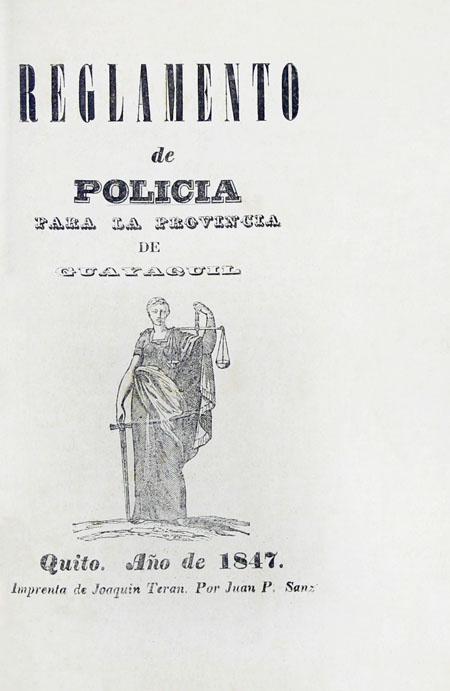 Reglamento de policía para la provincia de Guayaquil (Folleto).