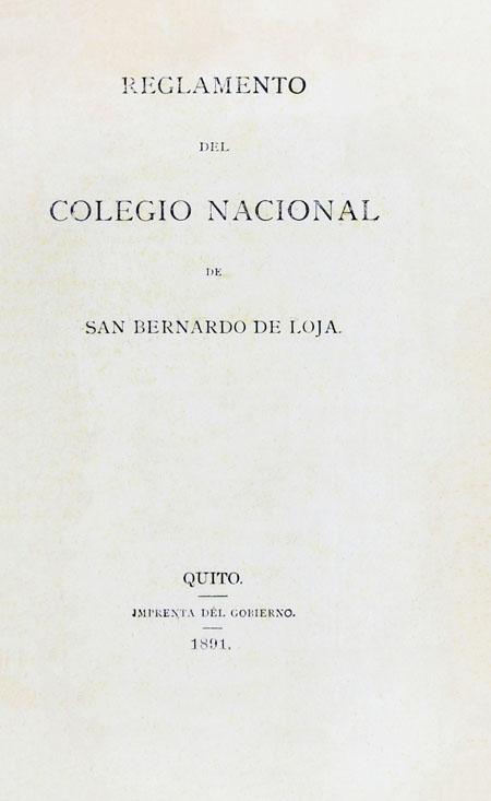 Reglamento del Colegio Nacional de San Bernardo de Loja (Folleto).
