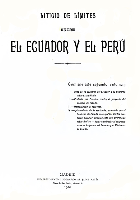 Litigio de límites entre el Ecuador y el Perú.