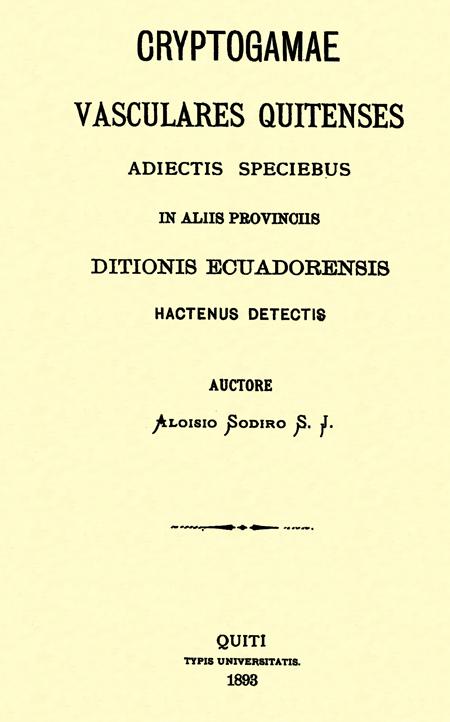 Cryptogamae Vasculares Quitenses Adiectis Speciebus in Aliis Provinciis Ditionis Ecuadorensis Hactenus Detectis.
