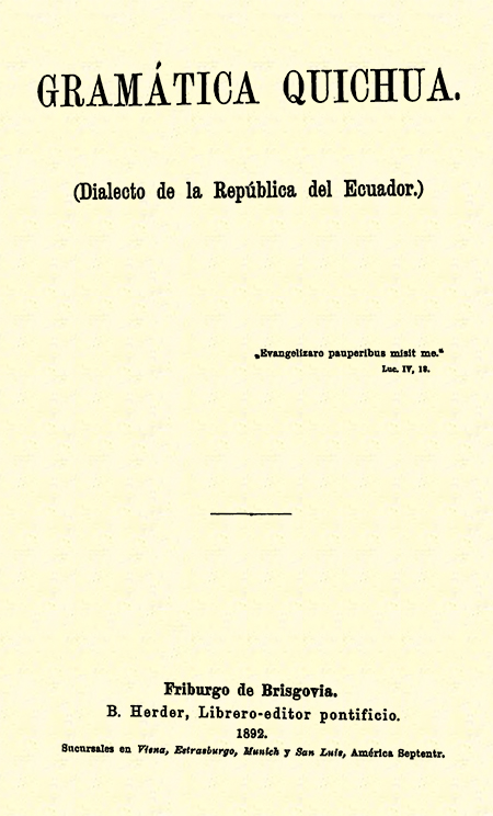 Gramática Quichua. ( Dialecto de la República del Ecuador).
