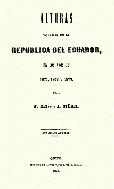 Alturas tomadas en la República del Ecuador, en los años de 1870, 1872 y 1873 (Folleto).