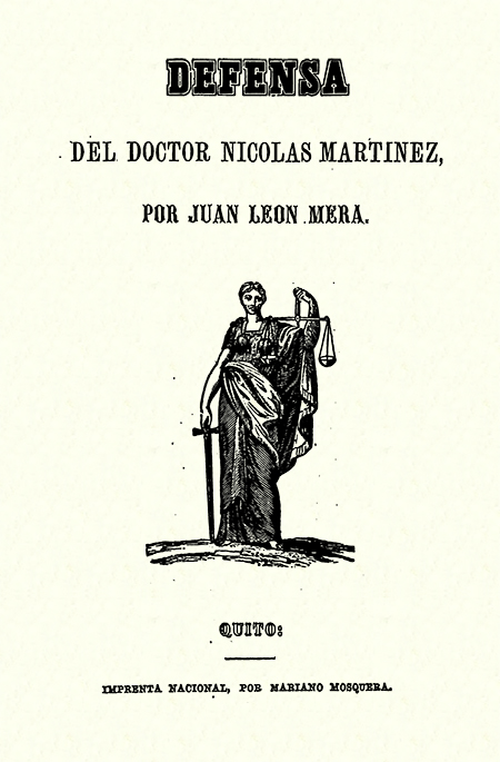 Defensa del doctor Nicolás Martinez ( Folleto).