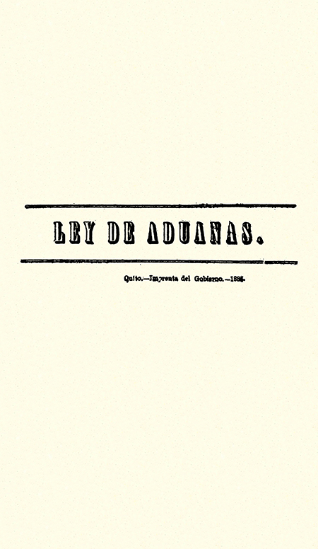 Ley de aduanas (Folleto).