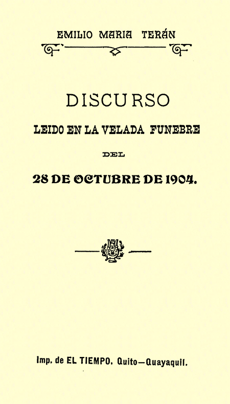 Discurso leído en la velada fúnebre del 28 de octubre de 1904 (Folleto).